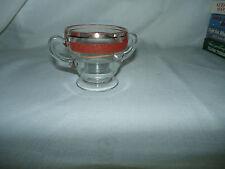 Vintage Art Deco Clear Glass Open sugar textured Red Orange Band