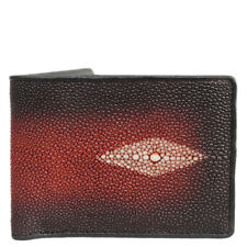 Genuine Polished Stingray Skin Leather Men Bifold Wallets Red & Black