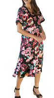 UK Sizes 10-26 EU 36-52 Ladies Black and Pink Floral Short Sleeved Dress