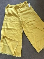 HEI HEI   ANTHROPOLOGIE    WIDE LEG PANTS in YELLOW  unique  NWT  s. M
