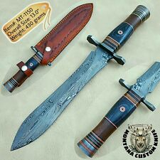 CUSTOM HANDMADE DAMASCUS HUNTING DAGGER KNIFE | EXOTIC & ROSE WOOD | 13.0"
