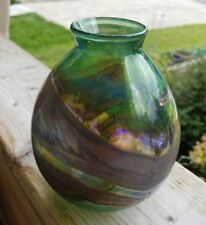 Green and Brown Blown Glass Vase