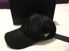 NWT PRADA MILANO BLACK TECHNO NYLON CAP HAT UNISEX M