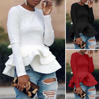 ZANZEA 8-24 Women Zip Up Long Sleeve Top Shirt Tee Frilled Ruffled Peplum Blouse