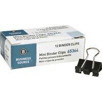 "Business Source 65364 Binder Clips, Mini - 0.6"", 12/Dozen - Black"