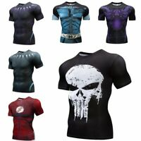 Men's Funny Skull 3D Print T-Shirt Motorcycle Casual Short Sleeve Top summer Tee