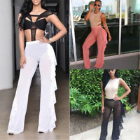 NEW Women Mesh Sheer Ruffle High Waist Bikini Cover Up Long Pants Loose Trouser