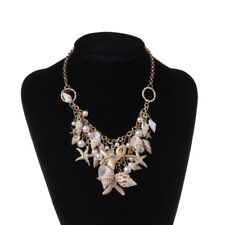 Starfish Sea Shell Faux Pearl Collar Bib Statement Chunky Necklace Pendant Women