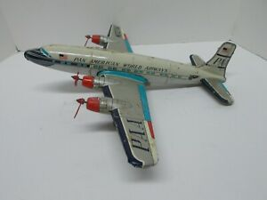 """LINEMAR (Div. of MARX) Pan Am Pressed-Tin Friction 4-Prop Airplane~17"""" Wingspan"""