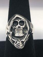 Grim Reaper Sterling Silver Skull Ring Biker Heavy Sz 11 NEW 925 NEW Death Big