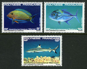 French Polynesia 373-375, MNH. Fish. Acanthurus lineatus,Caranx melampygus, 1983