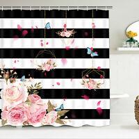 Flower Stripe Bath Shower Curtain Home Hanging Curtains With Hooks Bathroom Deco