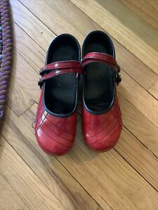 Women's SANITA Red Patent Leather Mary Jane Clogs Shoes Size 40 US 9-9.5