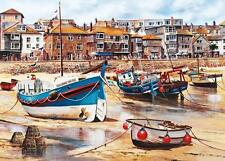 St. Ives Harbour Seascape Canvas Art Poster Print Beach Boats St Ives Cornwall