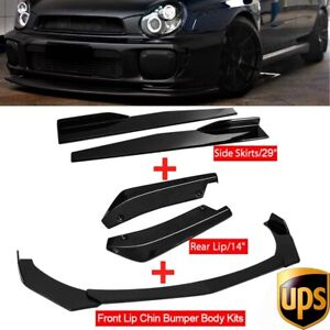 Glossy Black Front Bumper Spoiler Body Kit+Side Skirt +Rear Lip For Subaru WRX