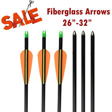 "12 Compound Bow Fiberglass Arrows Archery Target Shooting Practice 28"" 30"" 32"