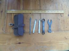 VINTAGE ANTIQUE OLD BICYCLE REPAIR KIT WITH LEATHER POUCH
