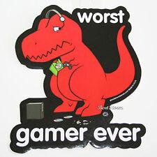 """HAPPY DINOSAUR T-REX """"Worst Gamer Ever"""" Diecut Vinyl Wall STICKER 4 1/2"""" x 4"""""""