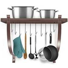 Sorbus Decorative Wall Mount Pot Rack with Hooks (Bronze)