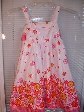 LILLY WICKET Pink & White 100% Cotton Sleeveless Lined Dress Girls Sz 4 NWT