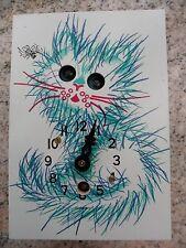 Vintage German Blue CAT Moving Eyes Novelty Small Cuckoo Clock Germany New