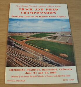 """1960 Program~'QUALIFYING Meet for OLYMPIC Tryouts'~""""TRACK and FIELD"""" Bakersfield"""