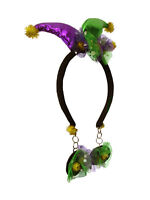 Mini Mardi Gras Jester Headband With Attached Faux Earrings Costume Accesssory