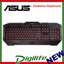 ASUS Cerberus Keyboard LED Backlit USB Gaming Keyboard Splash-Proof Tactical