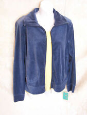 Ladies Medium TANGERINE blue  velour knit fleece  Jogging Jacket Top New