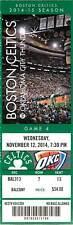 Ticket Basketball Boston Celtics 2014 11/12 Oklahoma City Thunder Kevin Durant