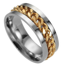 1X Fashion Women Mens Steel Rotatable Chain Band Ring Finger Spinner Ring Q9Q
