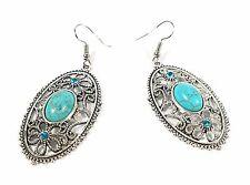 Women Fashion Retro Turquoise Oval Silver Hollow Flowers Earrings Dangle Hook