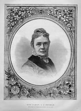 MRS. JAMES GARFIELD PORTRAIT PRESIDENTS WIFE UNITED STATES FIRST LADY OF 1881