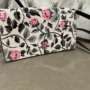 NWT Coach Patent Leather Rose Print Foldover Clutch Crossbody Bag Floral F25788