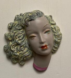 Goldscheider, Art Deco, Face Mask. Wall. Blonde grey hair.