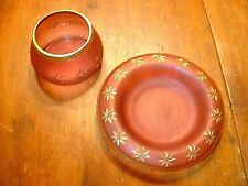 Antique Cranberry Acid Finish Bowl & Dish With Cut Star Motif In Gold Trim