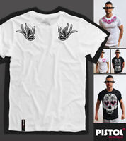 Pistol Boutique Men's Rolled Sleeve White Crew SHOULDER TATTOO SWALLOWS T-shirt