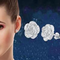 Fashion Lady Flower Earring Women Silver Plated Ear Studs