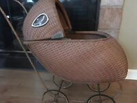 Vintage Wicker Baby Doll Carriage Stroller Buggy , Pram Rose