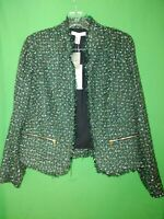 2773) NWT CHICO'S sz 1 green black gold woven blazer jacket open front new 1