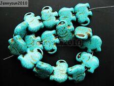 """Azul howlite turquesa, piedras preciosas costado Plana Elefante suelta granos de 16"""""""