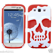 SAMSUNG GALAXY SIII 3 GS3 SKULLCAP HYBRID HARD CASE SKIN COVER WHITE/RED