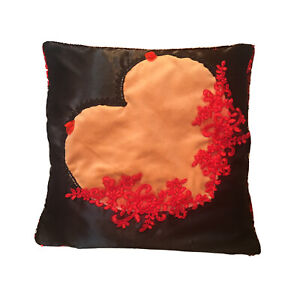 Cushion Case Cover Sequin Reversible Red Black Fetish Sexy Boobies Heart Kinky