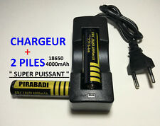 Chargeur + 2 Battery 18650 Protected Li-ion 4000Mah 3.7V Accu