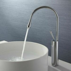 Modern Bathroom Tall Mixer Tap Single Handel Sink Basin Faucet  Chrome Monobloc