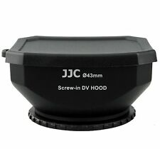 JJC LH-DV43B BLK 43mm Screw-in DV Camcorder Square Lens Hood with Cap and Strap