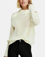 NWT Free People Half Moon Bay Cold Shoulder Pullover Sweater Ivory S $98