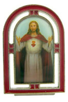 Catholic Silver Red Enamel Jesus Christ Sacred Heart Standing Icon, 2 1/4 Inch