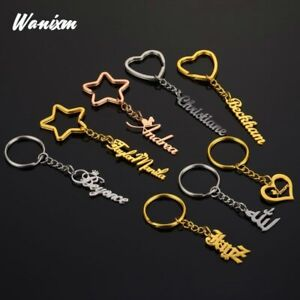 Personalize Name Keychain Custom Accessories Jewelry Men Women Keyring Wallet