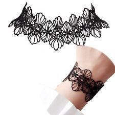Handmade Lady Black Lace Flower Collar Pendent Necklace Bracelet Jewelry Set UK